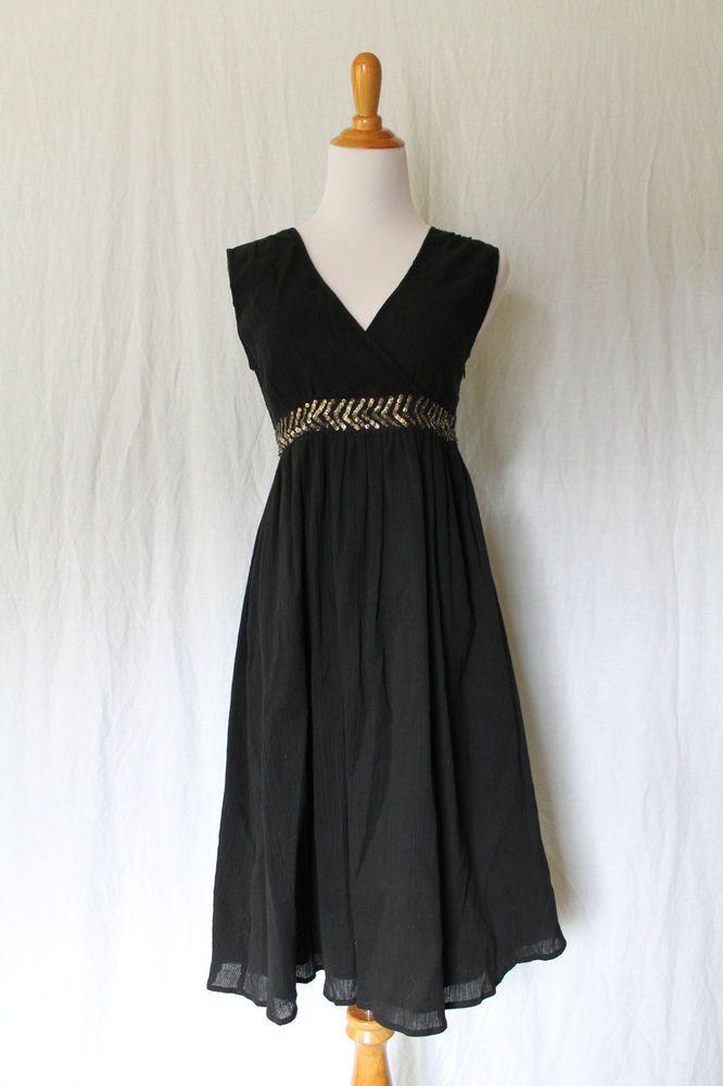 Garnet Hill Black Sleeveless Crinkle Cotton Sequined Surplice Dress Size XS NWOT #GarnetHill #TeaDress #Casual