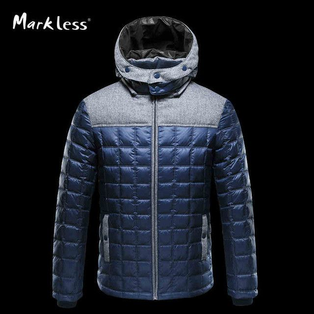 Winter Fashion Men Down Jackets Mens Casual Clothing Hooded White Duck Down Parkas Male Winter Coats