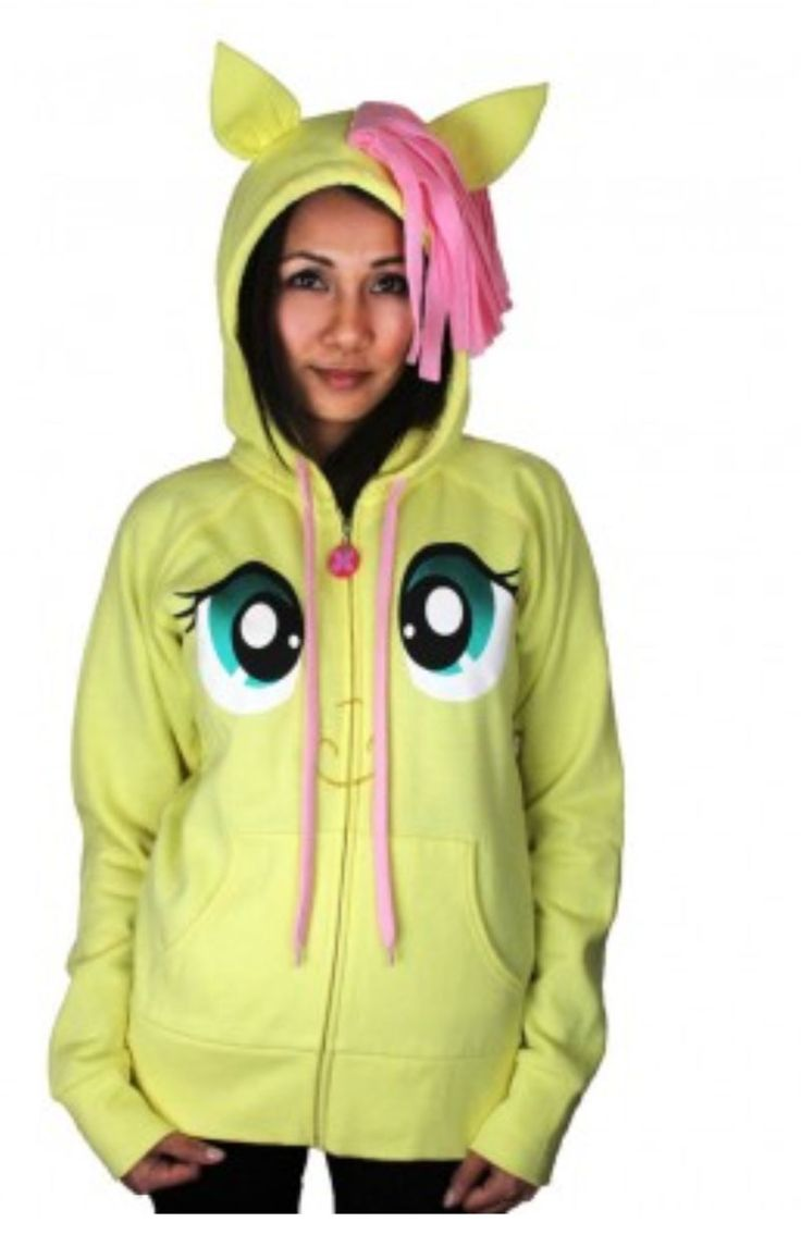 My Little Pony Fluttershy Pegasus Face Juniors Butter Yellow Costume Hoodie with Mane and Wings $49.95