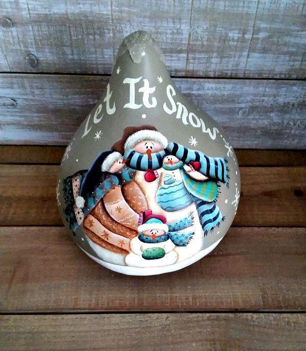 Hand Painted Folk Art Primitive Winter Snowman Family Gourd