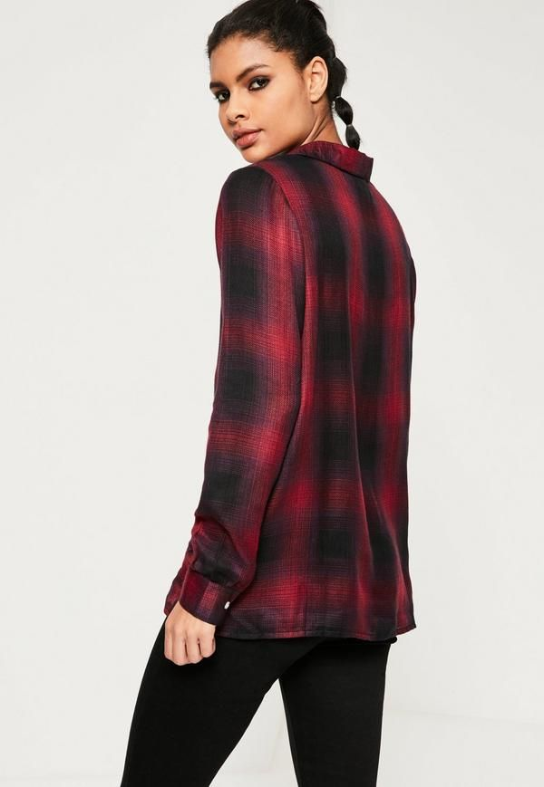 Red Lace Up Checked Shirt - Free Delivery | Missguided