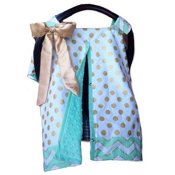 Mint gold carseat cover velcro straps with by SnugglyLilBabes