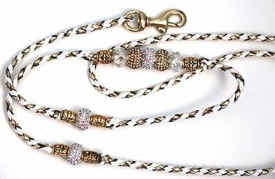 "White/Gold 36"" Hand braided Kangaroo Leather Dog Show Leash/Lead w. Beads"