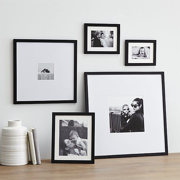 5-Piece Matte Black Picture Frame Set Classic black wood and white mat picture…