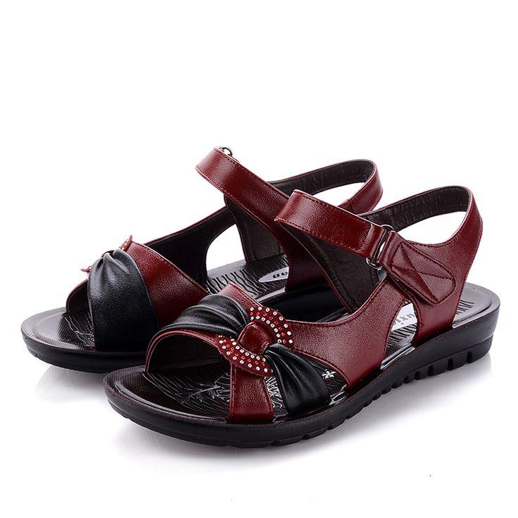 Женщины клинья обувь из натуральной кожи мягкие подошва летние сандалии на плоской подошве женская обувь плоским пятки сандалии