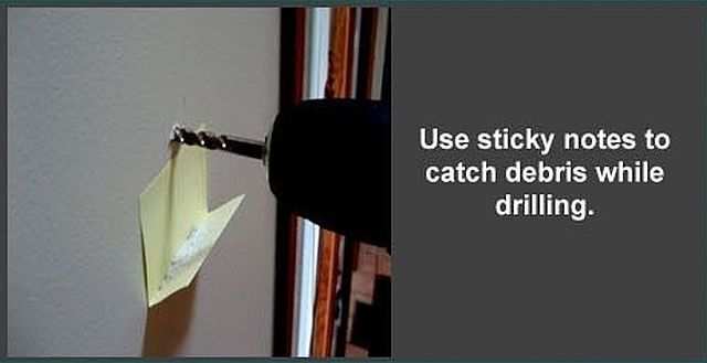 Use sticky notes to catch debris while drilling