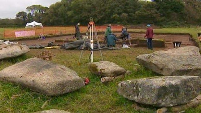 Work to rebuild a collapsed ancient Cornish monument is due to start later. Carwynnen Quoit, or Giant's Quoit, a 5,000-year-old burial chamber near Troon, collapsed in 1966.   Archaeological digs have established how the monument should be rebuilt [Credit: BBC] The first stones are due to be re-erected by owners the Sustainable Trust which bought the site in 2009. The cap stone will be replaced on 21 June.