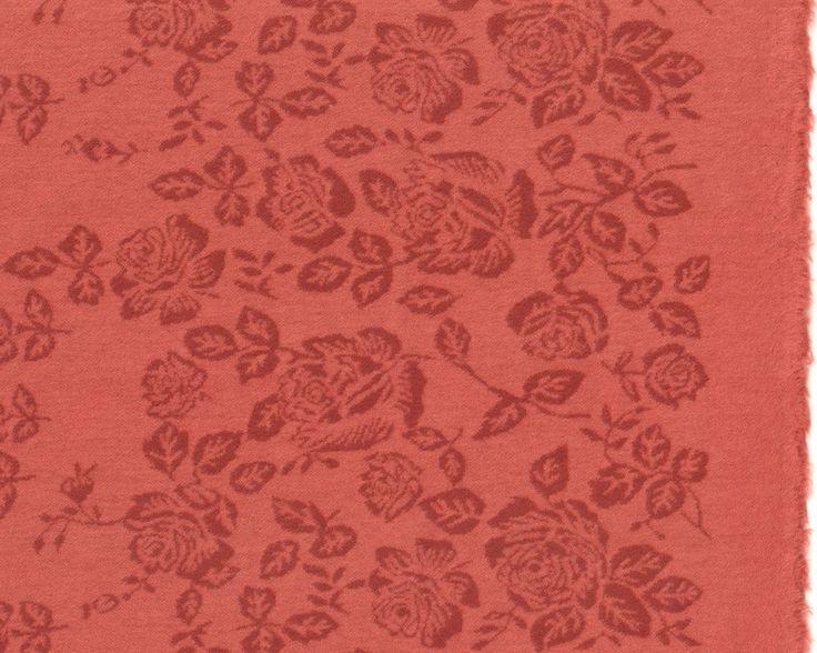 Leichter+Baumwoll-Flanellstrick+mit+Randbordüre+FLAVINA+ROSE,+Rosen,+helles+rostrot-rotbraun