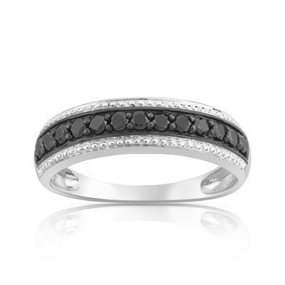 Alliance - Bague or 750 blanc diamant noir - Maty