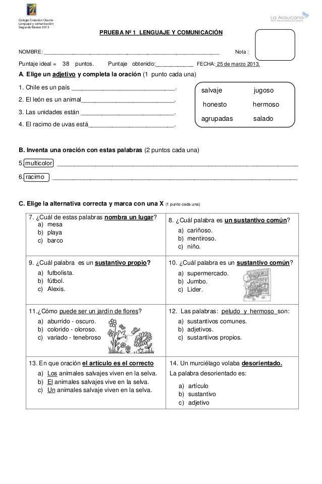 Resultado De Imagen Para Pruebas De Lenguaje Cuarto Basico Prueba De Lenguaje Lenguaje Informe De Lectura