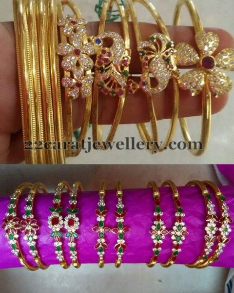 Jewellery Designs Floral Style Light Weight Bangles