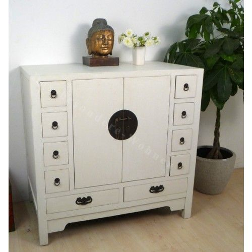 Commode chinoise blanche 10 tiroirs et double porte - Commodes chinoises - Commodes   Votre Chez Vous