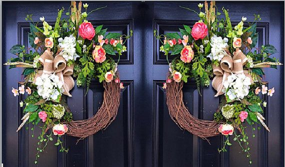 Spring Wreaths Double Door Wreath House Warming by FleursDeLaVie