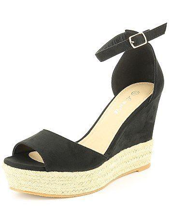 Sandales compensées en suédine                                         noir Femme