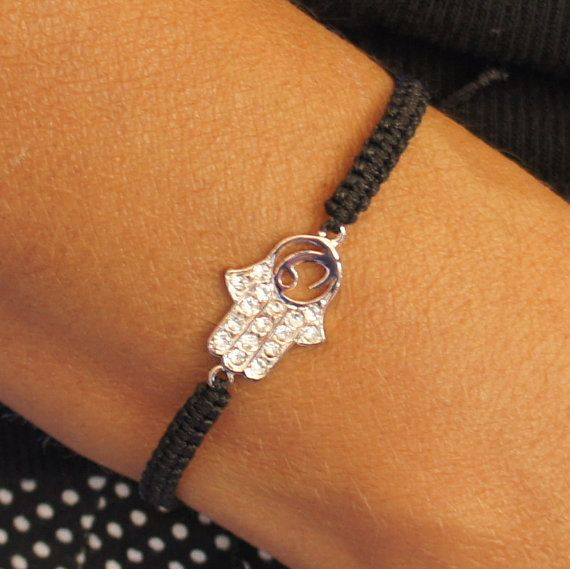 Pink silver Hamsahand Bracelet  Hand of Fatima by CharmByIA