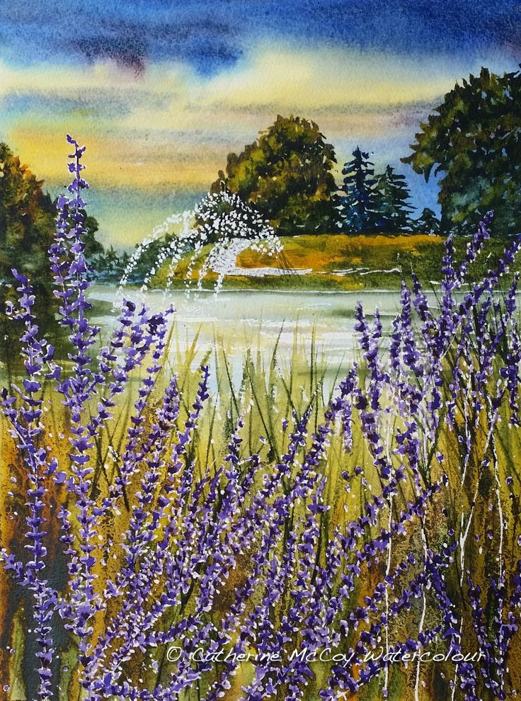 """Sage on the Thames. Watercolour 12"""" x 16"""" by Catherine McCoy"""