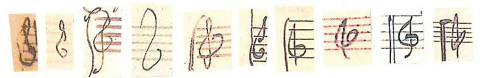 """dad-rock-davos:  transhumanisticpanspermia:  rachellebutler:  Treble clefs by (L to R) Bach, Haydn, Mozart, Beethoven, Schubert, Mendelssohn, Schumann, Brahms, Debussy, and Ravel. Source  all musicians across all time periods: """"fuck how does that thing go""""  Beethoven didn't even try"""
