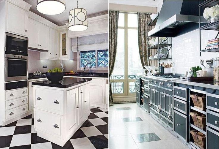 Кухня с черно-белым полом