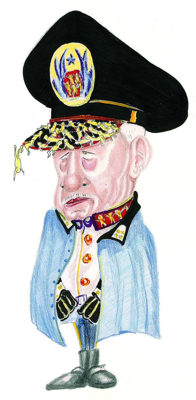 Caricatura de Agusto Pinochet en sus tiempos de represión. Tecnica de lapices de colores y tinta china