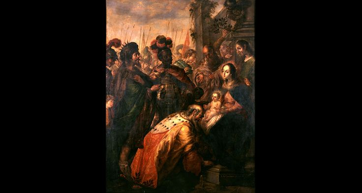 Adoration of the Magi, 1683. Cristóbal de Villalpando.  Office of the President, Fordham University, New York City, USA. Brought to you by Vistas: Visual Culture in Spanish America, 1520-1820, a website devoted to the art history of Latin America, during the Spanish Colonial period.