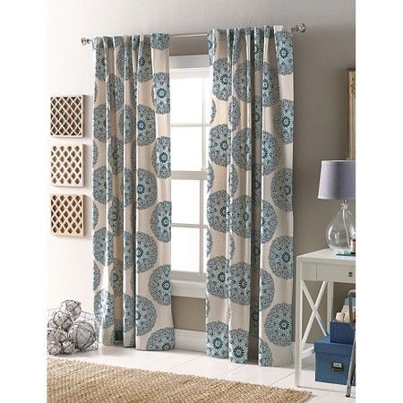 "Naturals Medallion Curtain Panel Blue (54""X84"") - Threshold™ : Target"