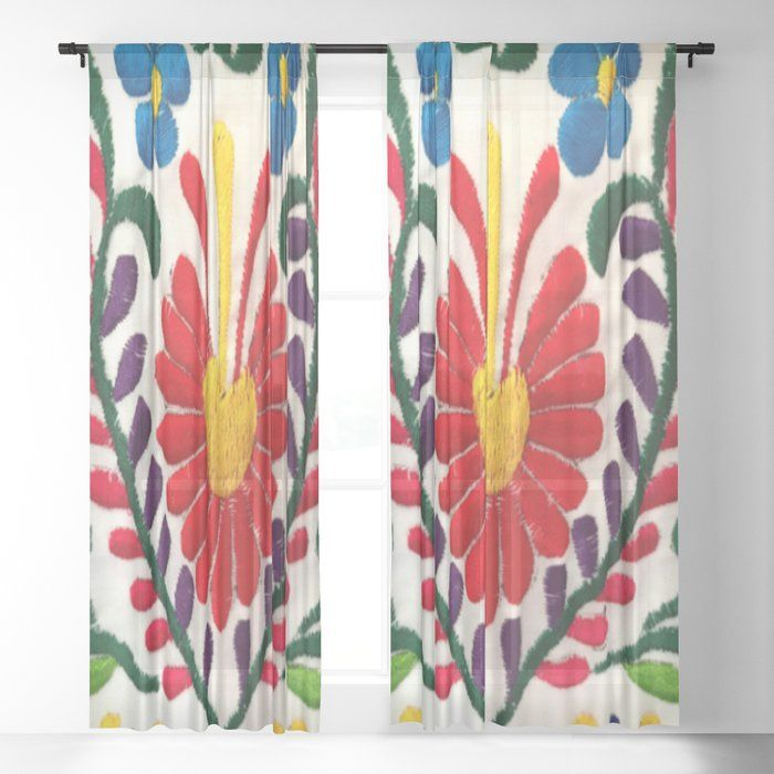 Red Mexican Flower Sheer Curtains Drapes By Tina Salazar 50 X 84 Set Of Two Mexican Flowers Sheer Curtain Curtains