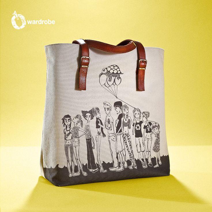 01WARDROBE Autumn/Winter 2013 - Beige Family Tote Bag Front, Cow Skin Leather Shoulder Straps // %100 Cotton Canvas bag / Printed bag / İllustrated bag / $69