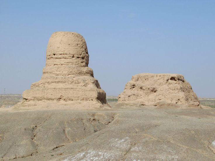 The 7th century Moer Buddhist Pagoda lies in the desert south of Artush near Kashgar, Xinjiang, China.