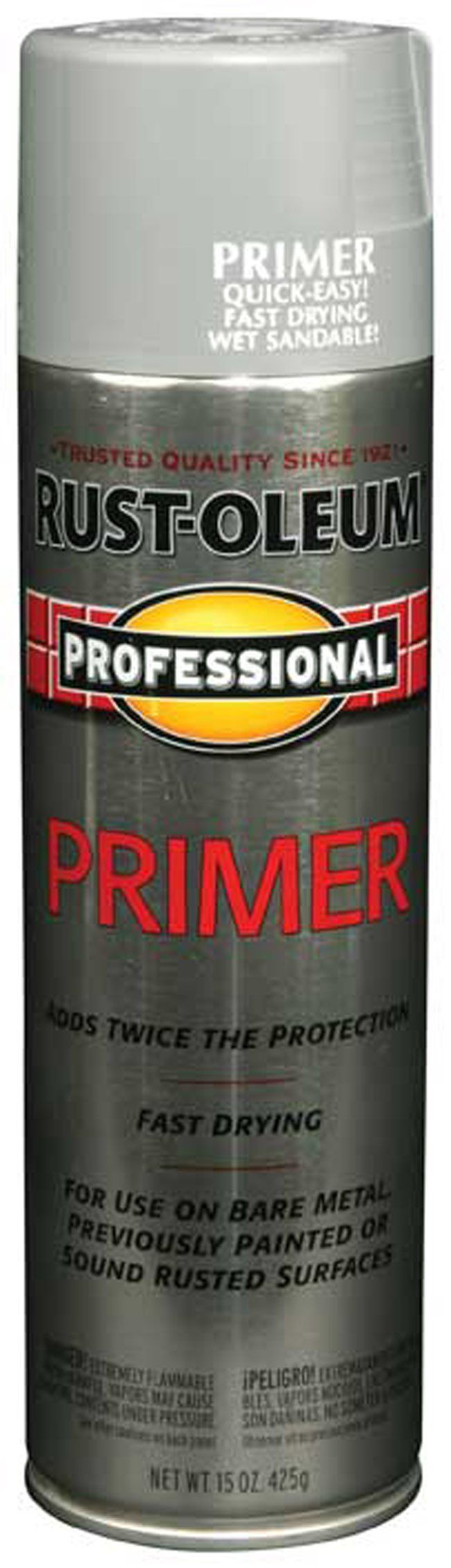 Rust-Oleum Professional Primer Spray Paint, use on outdoor metals, then paint over them