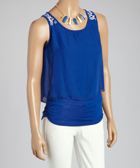 Blue Sleeveless Top & Bib Necklace