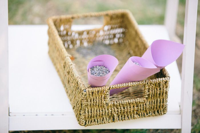 Lavender cones, so easy! Everyone threw as we walked back up the aisle for a sweet scented celebration
