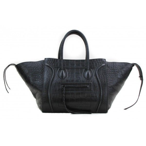 Celine Black Croc Embossed Leather Small Square Phantom Luggage ...