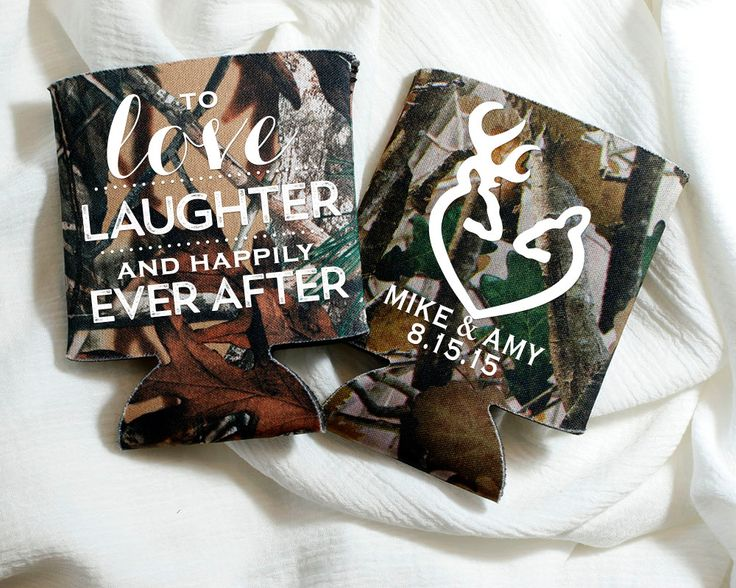New to SipHipHooray on Etsy: Love Laughter Happily Ever After Wedding Favors Camo Wedding Gift Buck and Doe Wedding Favor Deer Heads Wedding Favors Camo Favors 1171 (75.00 USD)