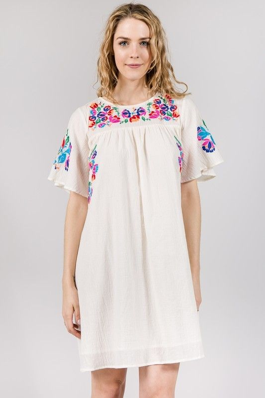 cf54a2052a Embroidered Cotton Dress - Longhorn Fashions