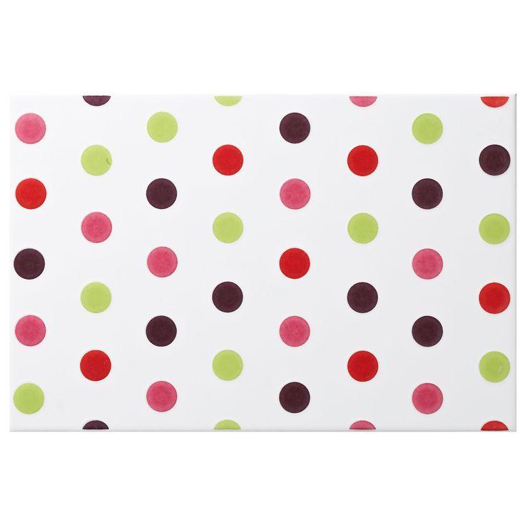 Multi Spot Pink Ceramic Wall Tile, (L)300mm (W)200mm | Departments | DIY at B&Q