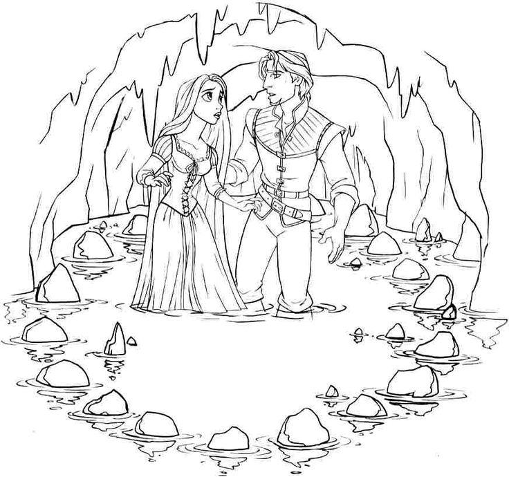 Printable Disney Princess Tangled Rapunzel Colouring Pages For Little Kids