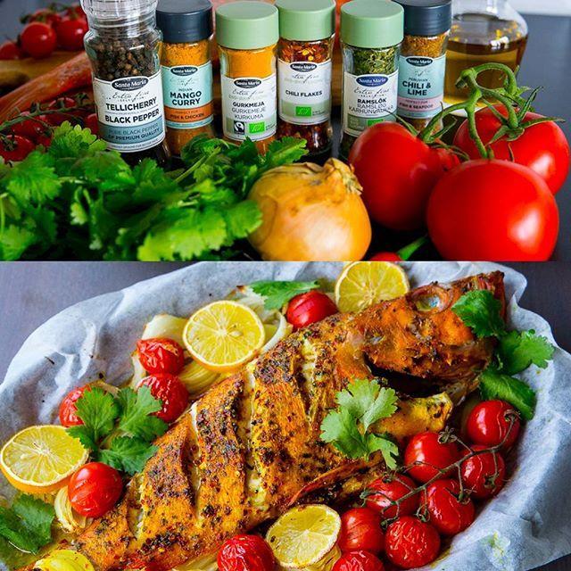 """☆I samarbete med @santamariasverige tävlar jag ut ett lyxigt paket med massa härliga kryddor☆  Jag antog Santa Marias roliga utmaning #älskakryddor där jag skulle utmana mig själv att laga något gott med helt nya kryddor. Det var så kul att gå loss med kryddorna. Jag lagade en riktigt """"spicy"""" fisk som jag serverade med en het tomatsås🌶🔥och couscous👌 Det blev en indisk-afrikansk rätt med en touch av Skandinavien😍 SÅ GOTT!  Vill du också testa spännande kryddor från Santa Maria?  Tagga…"""