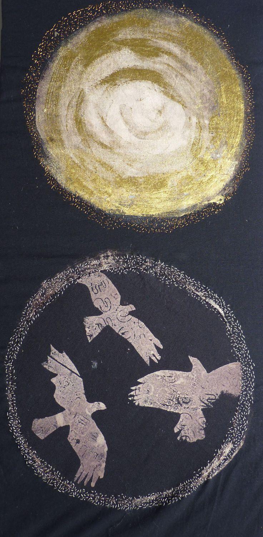 Violet shirran. Discharge print, gold foil and stitch