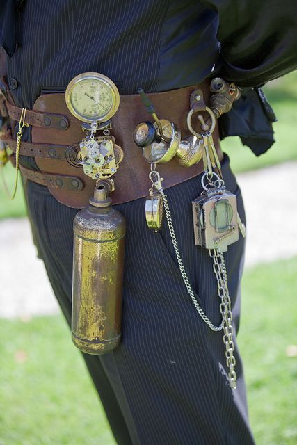 Steampunk accessory belt. Look at how realistic some of this is-- a spare air cansiter for low-pressure regions on an airship, for example. Www.steampunkobjective.nl