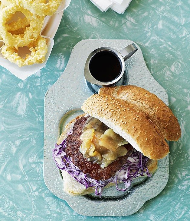 Australian Gourmet Traveller recipe for pork burgers with pear relish and onion rings