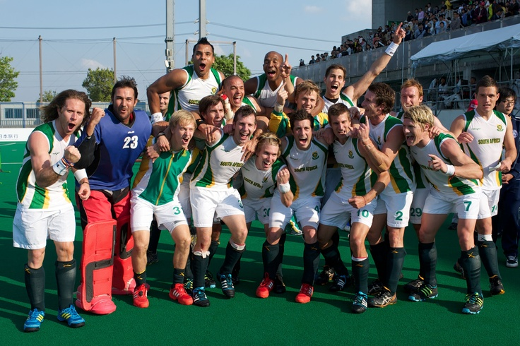 SA Men's Hockey Team Celebrate their Olympic Qualifying win in Japan 2012