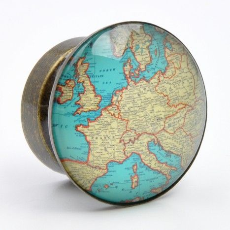Vintage style cupboard knob with encased map design European map graphic Glass…