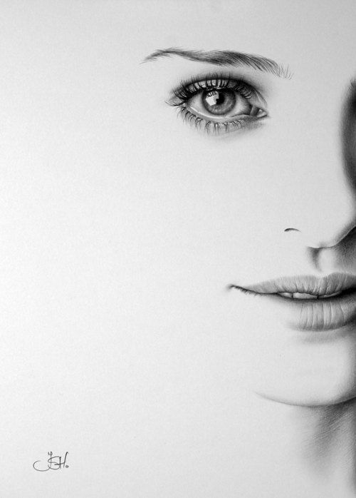 Natalie Portman Minimalism Pencil Drawing Fine Art by IleanaHunter, $19.99