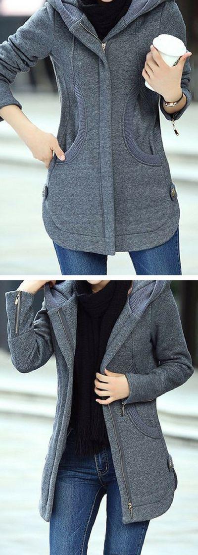 Long Sleeve Zipper Up Hooded Collar Grey Coat.