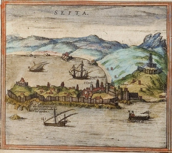 The Portuguese arriving in Ceuta circa 1415, drawing by Braun and Hogenberg