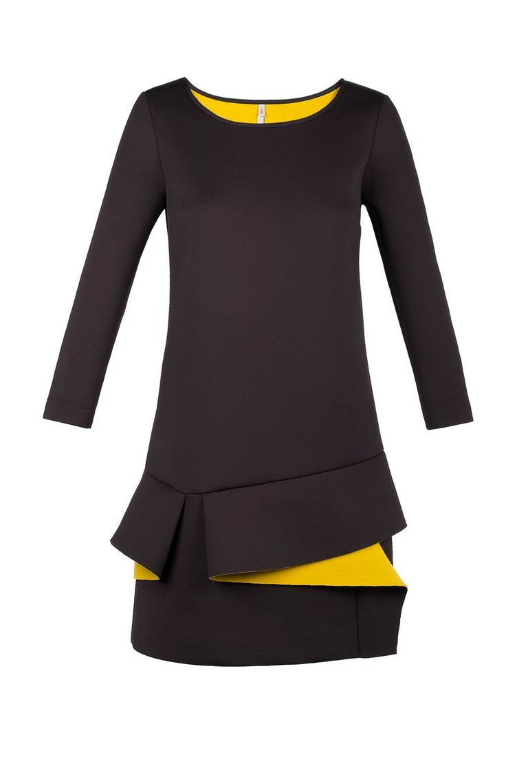 Robe néoprène bicolore noir moutarde volant TESIS Cop Copine - boutique en ligne officielle #Copcopine