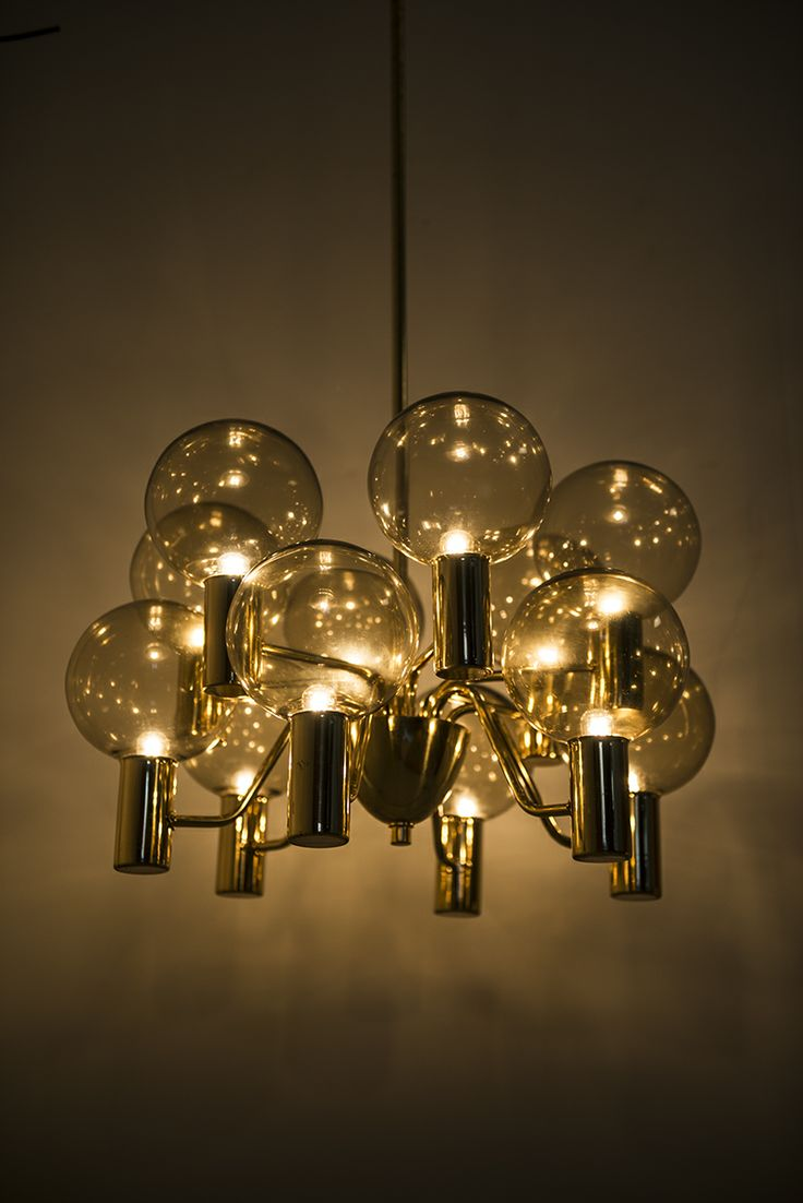 Hans-Agne Jakobsson ceiling lamp in brass and glass at Studio Schalling #midcentury #retro