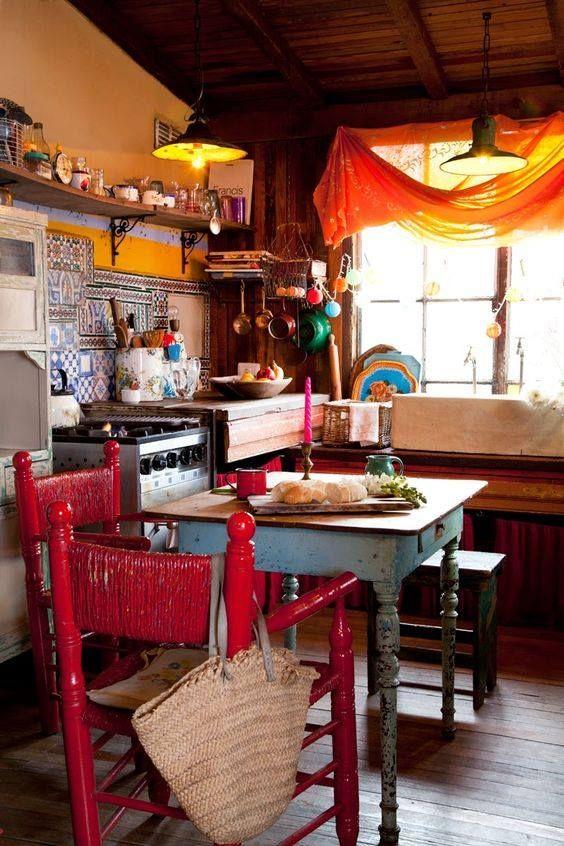 Vintage boho with gorgeous orange window drapes....shabby gypsy!