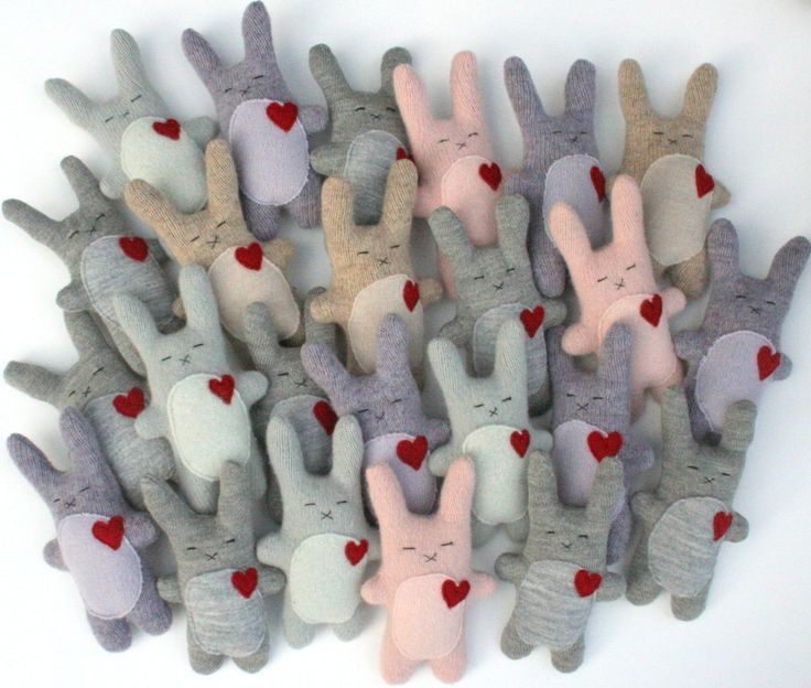 cute bunnies made from recycled wool