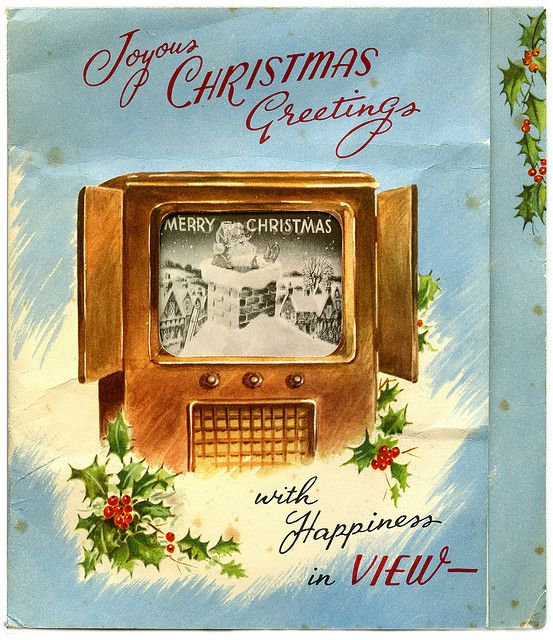 Joyous Christmas greetings. Old television (TV) with BW image - #vintage #Christmas #cards